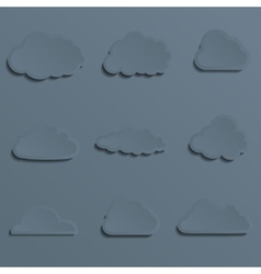 Set of a paper cut clouds Stylish With shadow vector image