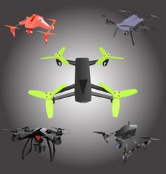 set of cartoon drones isometric vector image