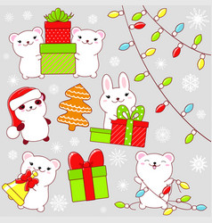 set of cute christmas party icons in kawaii style vector image