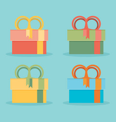 set of icons of gift boxes - stock vector image