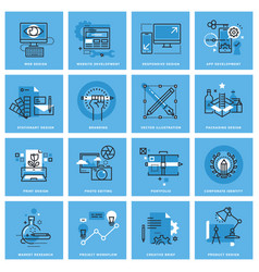 set thin line concept icons vector image