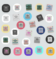 Set vintage sticker and badges with typewriters vector