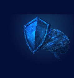 shield and brain low-poly blue vector image