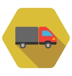 Shipment Flat Hexagon Icon with Long Shadow vector image