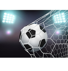 Soccer ball in the goal net on stadium with light vector