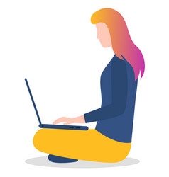 social media marketing woman with laptop vector image