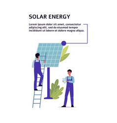 Solar energy banner with engineers and cell flat vector