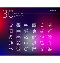 Sports outline icons set vector image