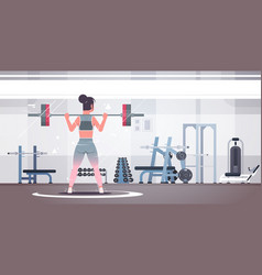 sporty girl lifting weights doing squats with vector image