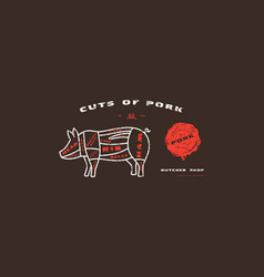 Stock pork cuts diagram in thin line style vector