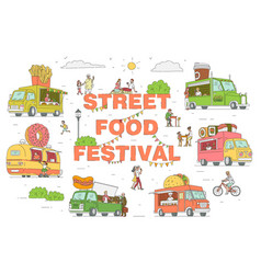 street food festival trucks set sketch vector image
