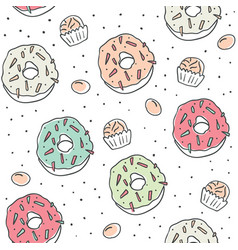 sweet cartoon colorful donuts seamless pattern vector image