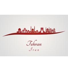 Tehran skyline in red vector
