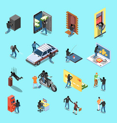 Thief isometric icons vector