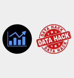 Trend chart icon and grunge data hack stamp vector