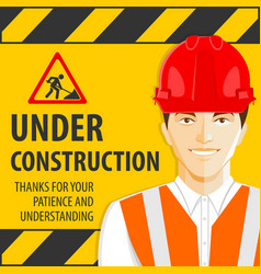 Under construction design concept with road worker vector