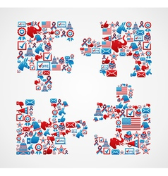 USA elections icons puzzle piece vector image