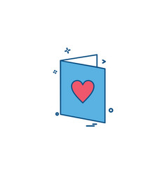 valentines card heart love letter icon design vector image