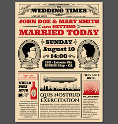 vintage newspaper front page wedding invitation vector image