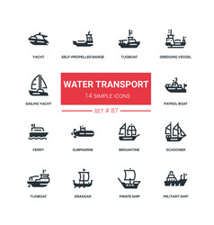 Water transport - flat design style icons set vector