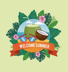 Welcome summer in flowers frame with beach vector