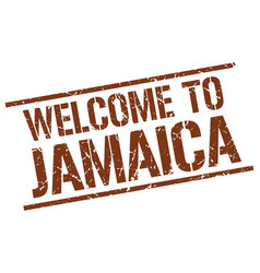 welcome to jamaica stamp vector image