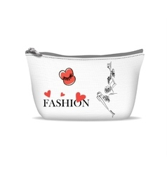 White textile cosmetic bag vector image