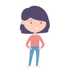 young woman character cartoon on white background vector image