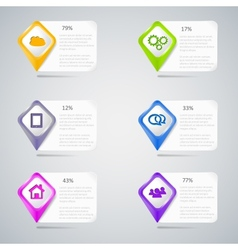 Colorful pointers with infographic elements vector image