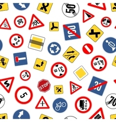 Different road signs isolated on white seamless vector image vector image