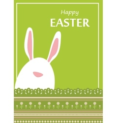 Easter bunny looking out a green retro background vector image vector image