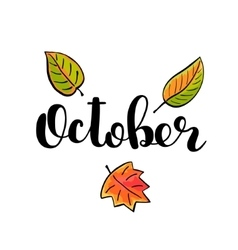 October Brush lettering vector image