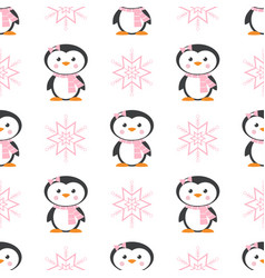 pattern with penguin and snowflake vector image vector image