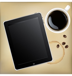 Tablet Computer With Cup Of Coffee vector image vector image