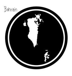 white map of bahrain on black circle vector image