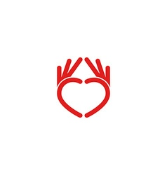 Abstract red heart logo from the hands the mockup vector image