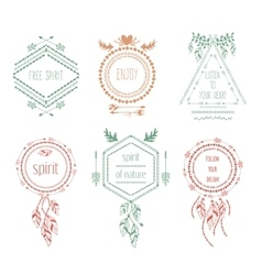 Boho tribal hipster labels vector image