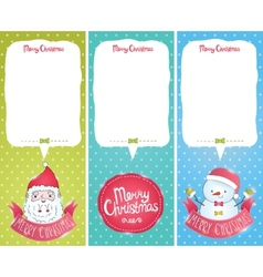 Christmas cards with Santa Claus snowman vector image