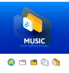 Music icon in different style vector image vector image
