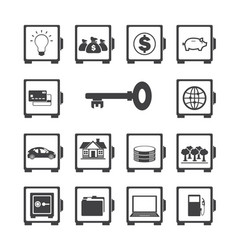 safe protected icon set vector image