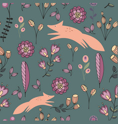 stylized flowers and foxes on a green background vector image