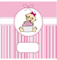 baby girl with a cake vector image
