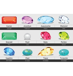 Collection of isolated gemstones by month vector