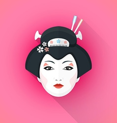 colored flat style geisha face vector image vector image