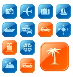 travel icons buttons vector image