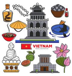 vietnam travel tourism famous symbols and asian vector image vector image