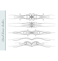 hand drawn elegant flourish text divider set vector image