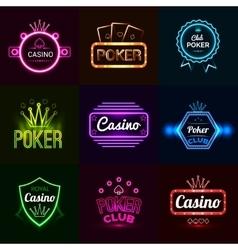 Neon Casino Emblems vector image vector image