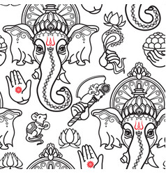 seamless pattern of hand drawn line art vector image