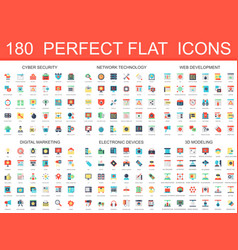 180 modern flat icons set of cyber security vector